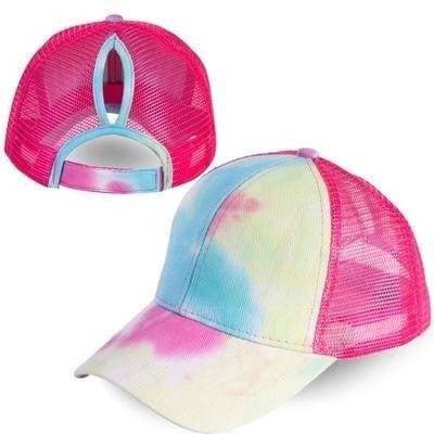 Tie Dye Ponytail Hats (3 Colors)