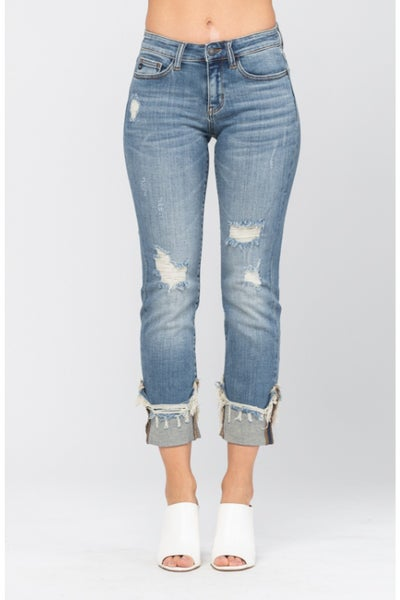 PLUS/REG Judy Blue Destroyed Cuffed Relaxed Fit Jeans