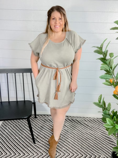 PLUS/REG Highlow Fishtail Frayed Dress