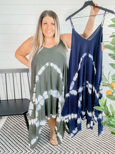 PLUS/REG Spaghetti Strap Tie Dye Dress