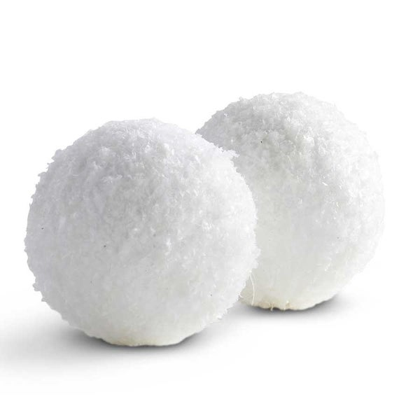 "4"" Round Textured Snowball Ornament"