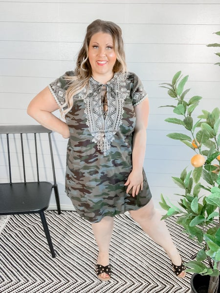 Camo Dress With Embroidery!