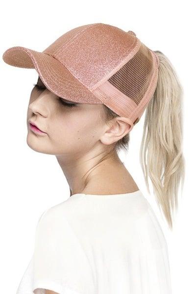 Glitter Pony Tail Baseball Hat