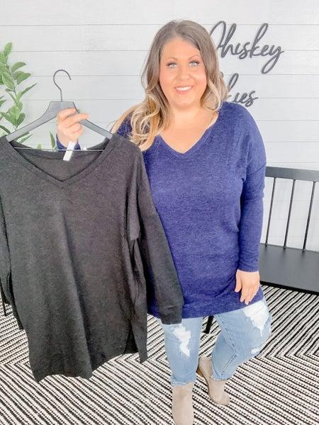 PLUS/REG Long Sleeve Brushed Melange Sweater