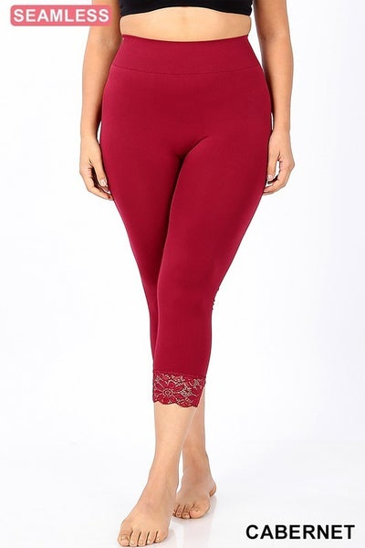 PLUS/REG Seamless Capri Leggings with Lace