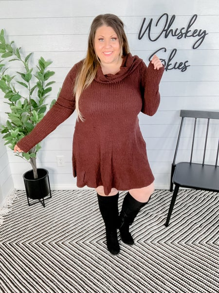 Two Tone Rib With Turtle Neck Dress