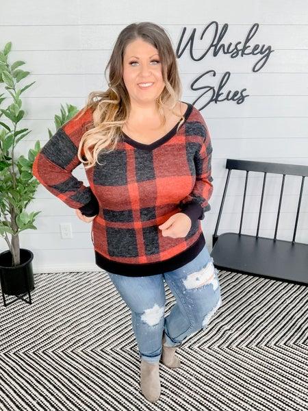 PLUS/REG Deep V-Neck Long Sleeve Sweater