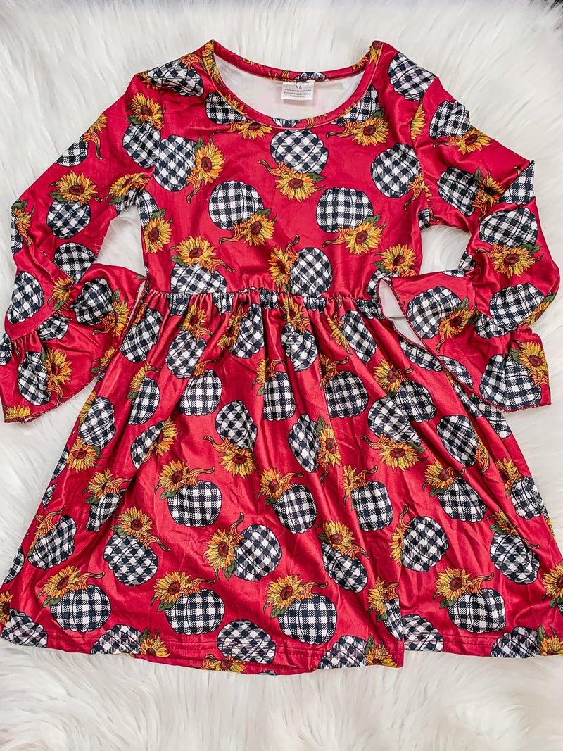 KIDS Sunflower Pumpkins Ruffle Sleeve Dress *FINAL SALE*
