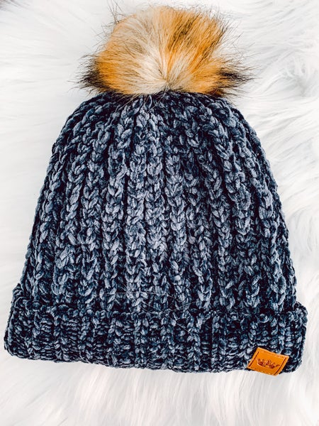 Navy chenille fleece lined hat with pom
