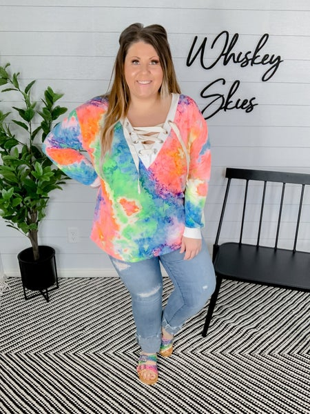 Tie Dye Deep V-Neck Top With Lace Up Front *FINAL SALE*