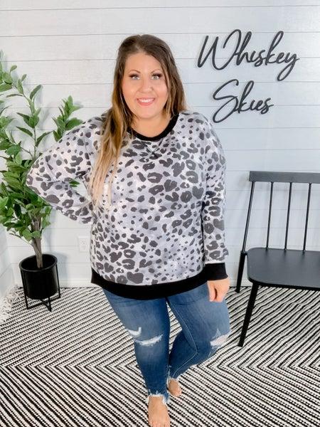 PLUS/REG Grey Cheetah Lightweight Sweater