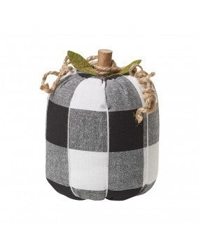 Large BW Checkered Fabric Pumpkin