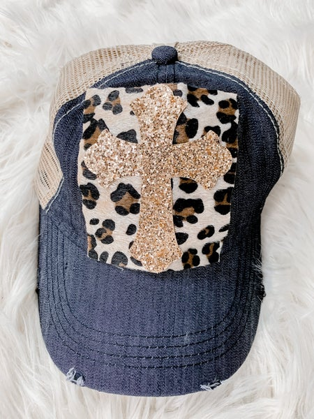Glitter Cross Leopard Denim and Mesh High Ponytail Hat