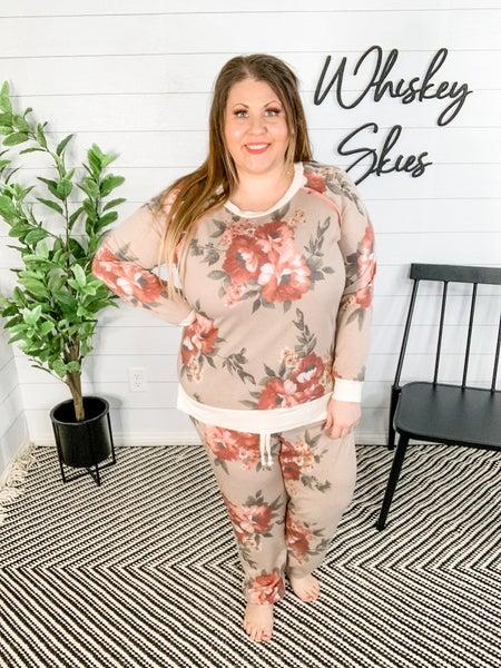 PLUS/REG Taupe Floral Knit Joggers *FINAL SALE*