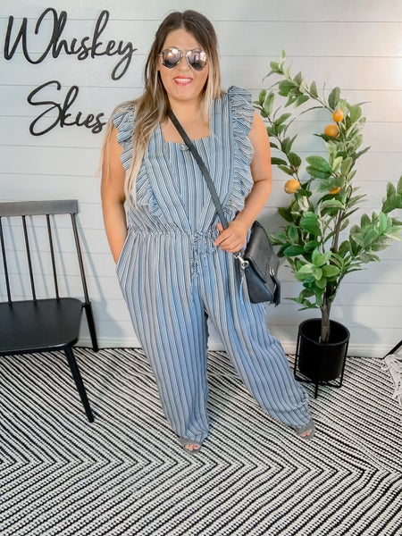 PLUS/REG Striped Jumpsuit