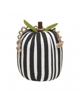 Large BW Striped Fabric Pumpkin