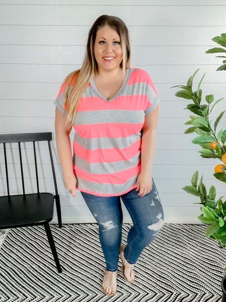 PLUS/REG Neon Pink Stripe Top