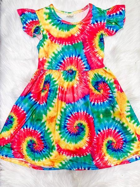 YOUTH Tie Dye Ruffle Sleeve Dress