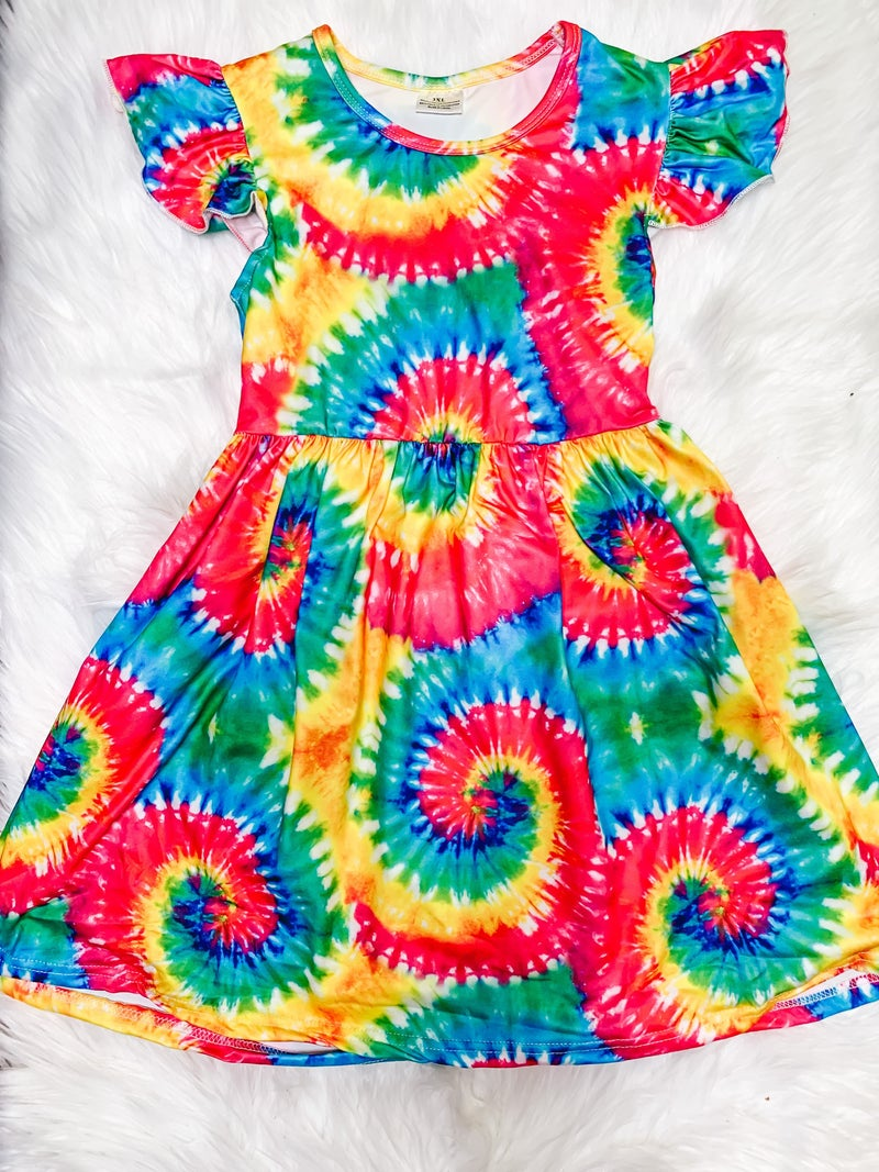 YOUTH Tie Dye Ruffle Sleeve Dress *FINAL SALE*