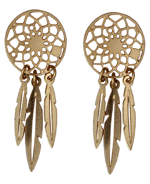 14k Gold Plated Dream Catcher Earrings