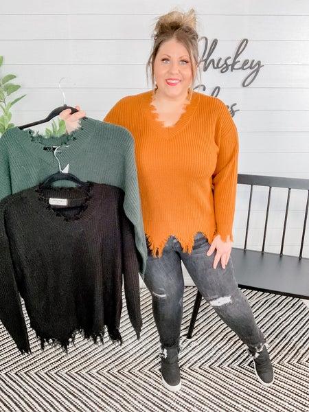 Fringe V Neck Short Body Sweater