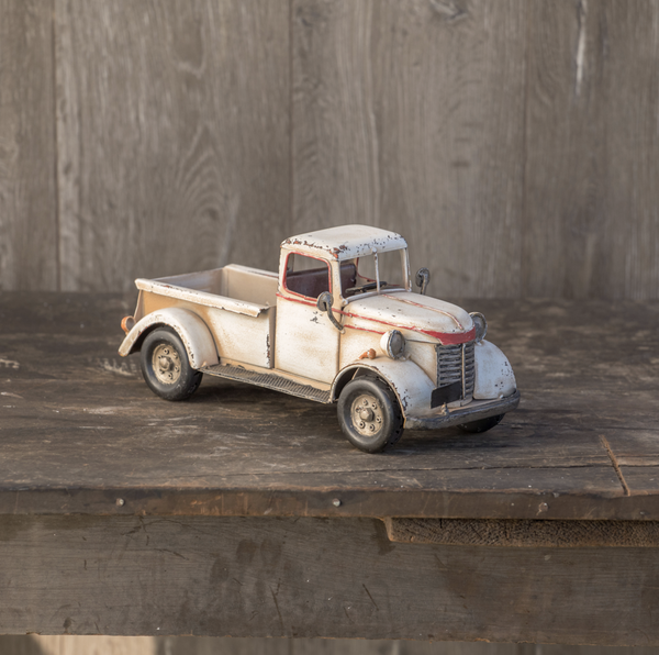 White Metal Vintage Truck