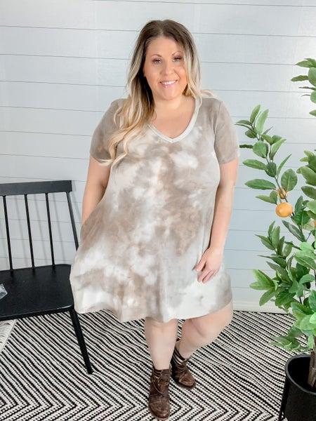 PLUS/REG Tie Dye Swing Dress with Pockets