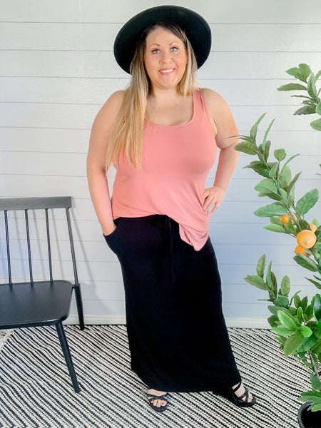PLUS/REG Maxi Skirt with Drawstring Waist and Pockets