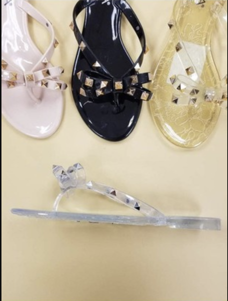 Gold Studded Black Jelly Sandals