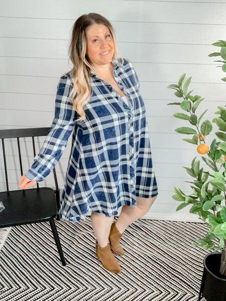 Hi-Low Plaid Button Down Dress
