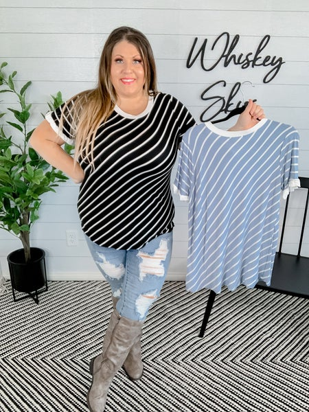 PLUS/REG Rayon Striped Top with Ruffle Edges *FINAL SALE*