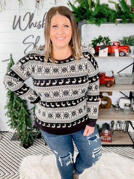 PLUS/REG Long Sleeve Black & White Reindeer Print *FINAL SALE*