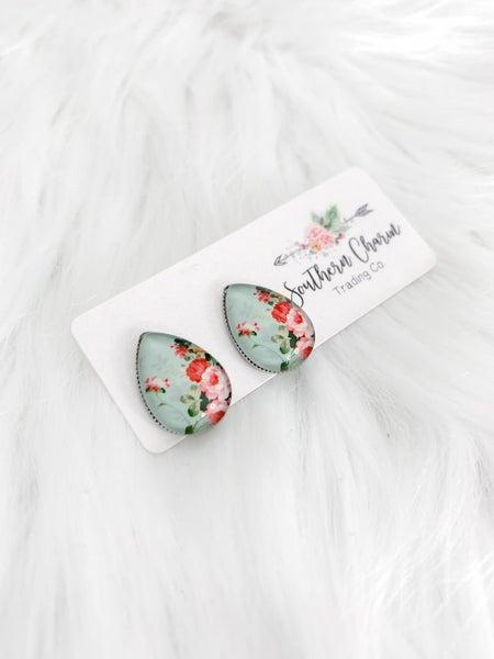 Big as Texas Pink & Mint Floral Teardrop Earrings