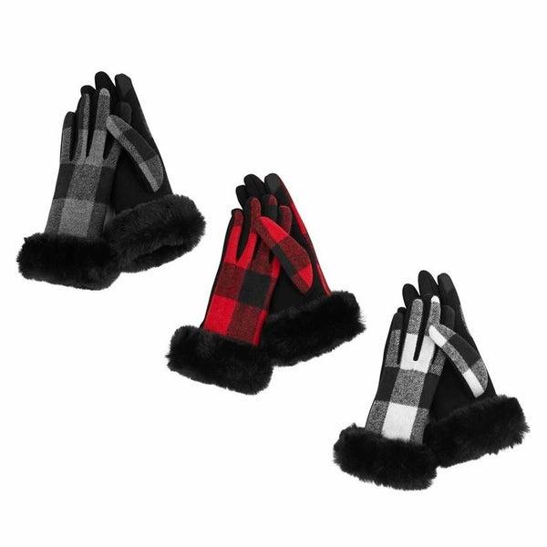 Plaid Fur Cuff Gloves