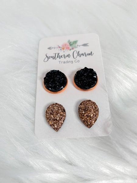 Black & Rose Gold Teardrop Earrings