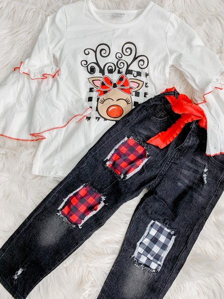 Sweet Reindeer Bell Shirt & Denim *FINAL SALE*