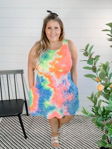 PLUS/REG Tie Dye Sleeveless Dress