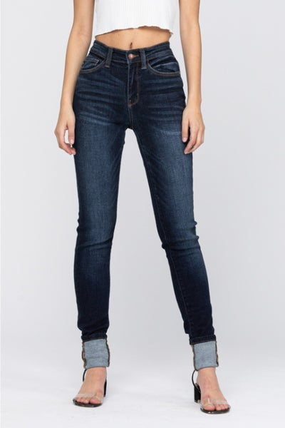 PLUS/REG Judy Blue Long Dark Wash Jeans