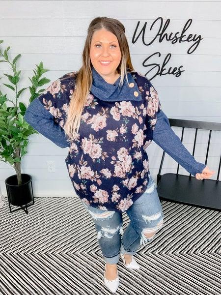 PLUS/REG Sweater Knit Turtle Neck Floral Print