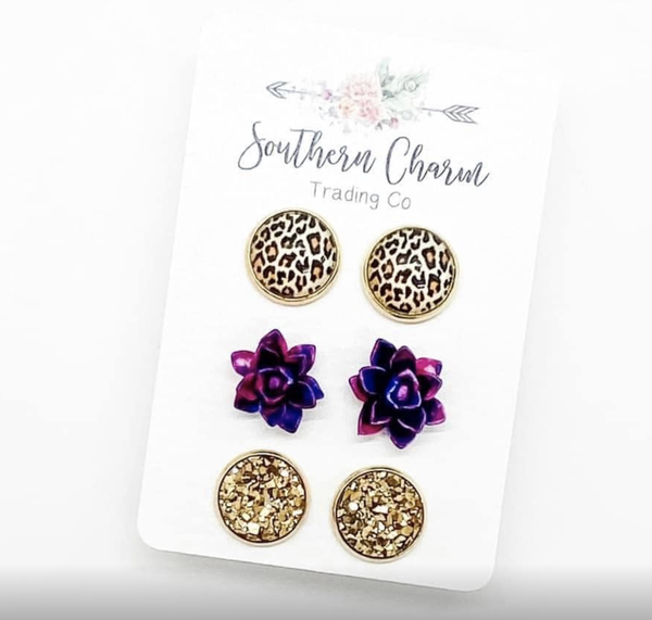 Leopard/Magenta & Blue Succulents/Gold in Gold Settings