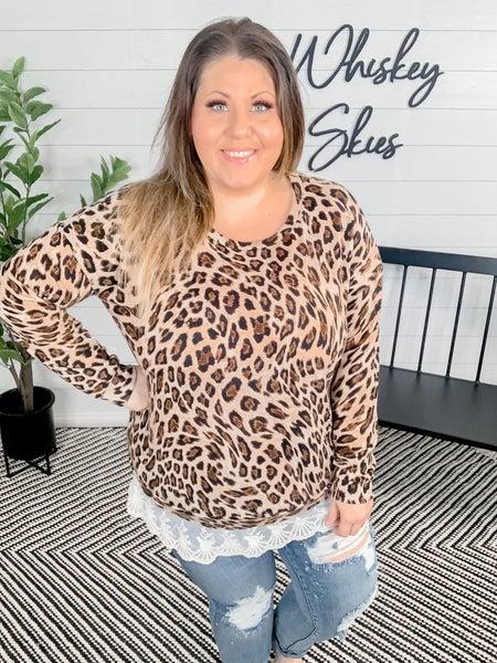 PLUS/REG : Cheetah Layered Sweater With Lace Bottom