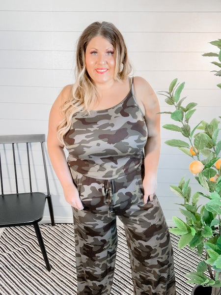 PLUS/REG Camo Jumpsuit