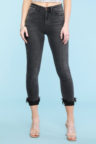 PLUS/REG Judy Blue Black Destroyed Cuff Skinny