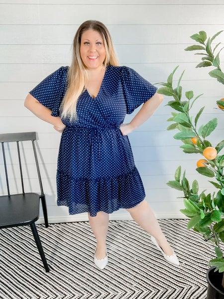 PLUS/REG Polka Dot Half Sleeve Wrap Dress