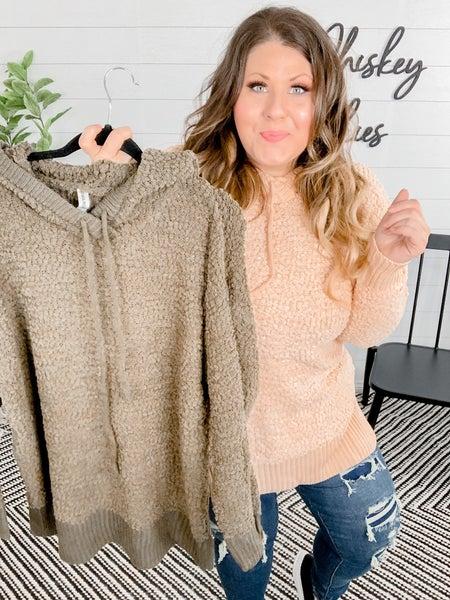 PLUS/REG Hooded Long Sleeve Popcorn Sweater