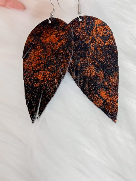 Black & Orange Leather Feathers