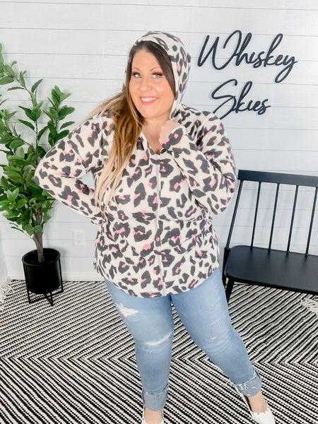 PLUS/REG Pink Leopard Hoodie