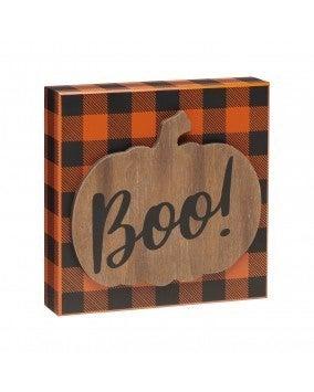 Boo 3D Pumpkin Box Sign