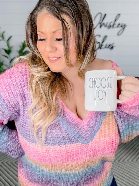 Multi-Color Drop Shoulder Knit V-Neck Sweater *FINAL SALE*