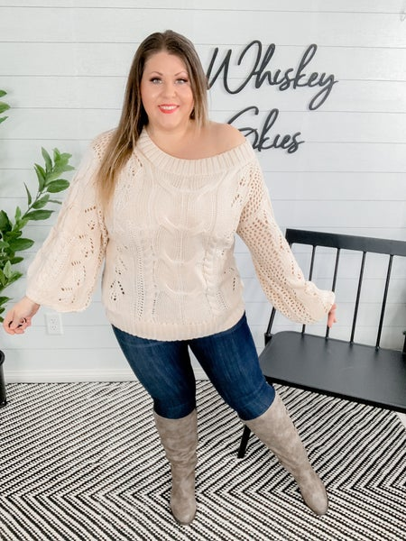 Cable Off Shoulder Puff Sleeves Sweater